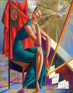 Fine Art and You: 20 Mind Blowing and Beautiful Cubist Art Works By Georgy Kurasov Cubist Artists, Cubism Art, Arte Pop, Colorful Paintings, Beautiful Paintings, Francis Picabia, Russian Art, Woman Painting, American Artists