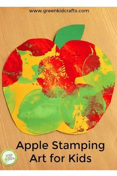 Apple stamping activity for kids. Cute apple themed craft for fall or back to school.