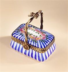 Limoges Blue Stripes and Flowers Basket Box The Cottage Shop