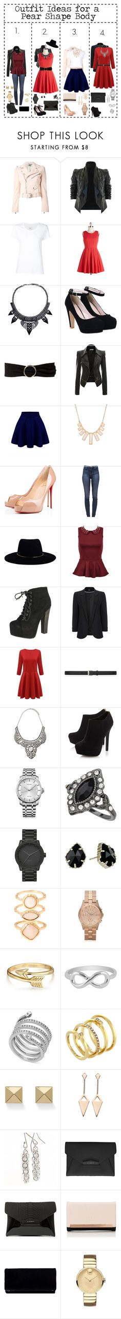 """""""Outfit Ideas For Pear Shape Body"""" by happyrandomness ❤ liked on Polyvore featuring Alexander McQueen, Max 'n Chester, MANGO, Rivka Friedman, Christian Louboutin, J Brand, Zimmermann, Breckelle's, Wallis and Yves Saint Laurent"""