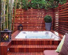 Jacuzzi outdoor, hot tub backyard, cozy backyard, backyard patio designs, b Hot Tub Privacy, Backyard Privacy, Privacy Fences, Privacy Screens, Fencing, Hot Tub Backyard, Cozy Backyard, Backyard Patio Designs, Small Backyard Pools