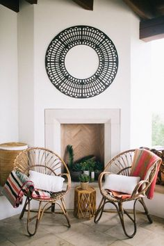 Mexican blankets resting on arms of Hennie chairs on outside fireplace patio for fiesta party Casa Patio, Deco Retro, Interior And Exterior, Interior Design, Boho Home, Living Spaces, Living Rooms, Bohemian Interior, Blog Deco
