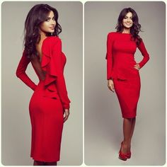 Red Long Sleeve Pencil Dress with Single-Side Ruffle Detail
