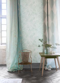 An elegant design of ribbon like swirls in seven fabulous colourways set against a subtle broad striped, lustrous silk ground for fabulously curtains Blue Rooms, Decor, Interior Design, Interior Deco, Living Room Colors, Interior, Designers Guild, Elegant Decor, Classic Decor