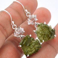 Moldavite-925-Sterling-Silver-Earrings-Jewelry-SE61740