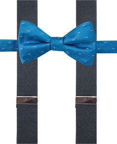 Alfani Blue Bow Tie & Suspender Set, Created for Macy's
