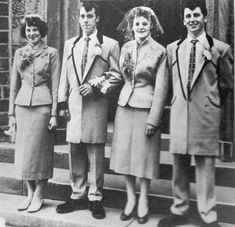 Teddy Boys- British subculture usually consisting of young men wearing clothes that we partly inspired by the styles worn by dandles in the Edwardian period. Teddy Boys, Teddy Girl, Teenage Outfits, Boy Outfits, Teenage Clothing, Kids Clothing, Guys And Girls, Boy Or Girl, Teddy Boy Style