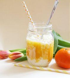 exotischer Milchreis mit Mango-Mandarinen-Mus