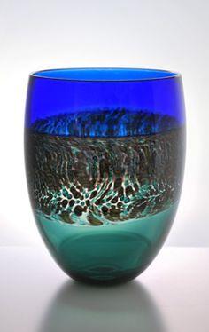 Triple Incalmo and Murrine Landscape Art-Glass Bowl - by Stephen Bradbourne  app.24 cm Tall - at the 'PIECE GALLERY -NZ' ♥≻★≺♥