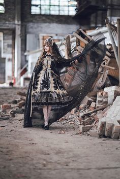 Arcadian Deer -Nightmare at Daybreak- Classic Gothic Lolita OP Dress (NOTE: Will Be Ready For Shipping in December! Lolita Fashion, Gothic Fashion, Real Costumes, Fashion Photography Inspiration, Cosplay, Girl Inspiration, Gothic Lolita, Lolita Style, Lolita Dress
