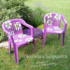 Il filo di mais di Chiara Gloria e Daniela: Nuovo restyling per delle vecchie sedie da giardino