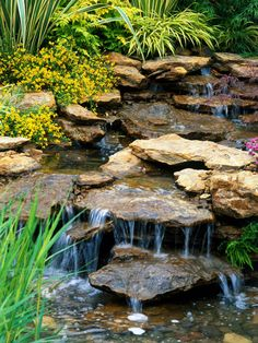 Explore landscape water features and learn about pond landscaping ideas from the experts at HGTV Gardens. Pond Waterfall, Small Waterfall, Waterfall Design, Backyard Water Feature, Ponds Backyard, Backyard Waterfalls, Backyard Ideas, Garden Ponds, Garden Ideas