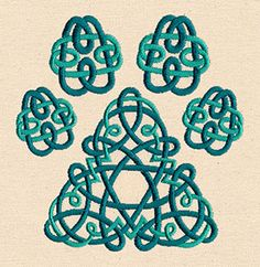 "Celtic Knotwork Pawprint design (UT7997) from UrbanThreads.com 4.88""w x 5.04""h 9 June 2014"