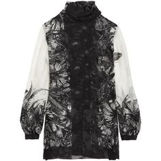 Anna Sui Butterfly Garden printed silk-blend jacquard blouse (£230) ❤ liked on Polyvore featuring tops, blouses, black, butterfly blouse, tie-neck blouses, neck-tie, jacquard top and neck ties