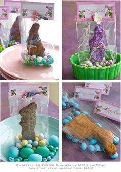 Great Ideas for decorating plain chocolate bunnies...