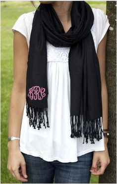 Monogramed Pashmina Wrap Personalized Scarf, Wrap, Bridesmaid Gifts, Shawl Wrap, Fashion Scarves, Gift