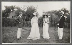 Virginia Stephen (second from right), two years before her marriage to Leonard Woolf, with Lady Ottoline Morrell and Lytton Strachey (right) in 1910.