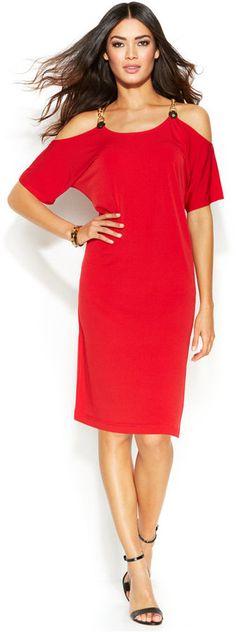 MICHAEL Michael Kors Cold-Shoulder Hardware Dress  |  ≼❃≽  @kimludcom