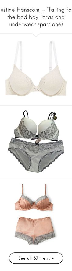"""Justine Hanscom — ""falling for the bad boy"" bras and underwear (part one)"" by psychobowers ❤ liked on Polyvore featuring intimates, bras, nude, nude bra, lined bra, t shirt bra, tshirt bra, jeweled bra, underwear and accessories"
