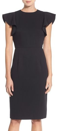 The best little black with flutter sleeves under $100. Chelsea28 Flutter Sleeve Stretch Sheath Dress