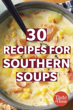 30 Recipes for Southern Soups Gumbo, jambalaya, chicken and dumplings—Southern soups are hearty, flavorful and comfort food at its finest. Jambalaya, Best Soup Recipes, Chowder Recipes, Ham Chowder, Hearty Soup Recipes, Healthy Soups, Fish Recipes, Beef Recipes, Italian Recipes