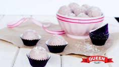 Strawberry Ripe Bliss Balls using Vanilla Bean Paste and Pure Maple Syrup by Queen Fine Foods. Click for recipe.