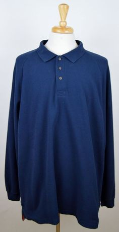 men's Duluth Trading Co. Navy Blue Long Sleeve Polo Shirt Heavy Cotton XXL 2XL  #DuluthTradingCo #PoloRugby