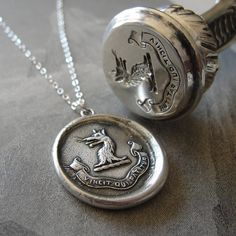 Who Endures Conquers - wax seal necklace with wolf and Latin motto - antique wax seal jewelry $99
