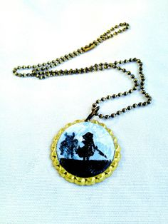 Hand-Painted Warrior Girl Necklace