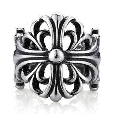Titanium Chrome Hearts Cross Open Ring