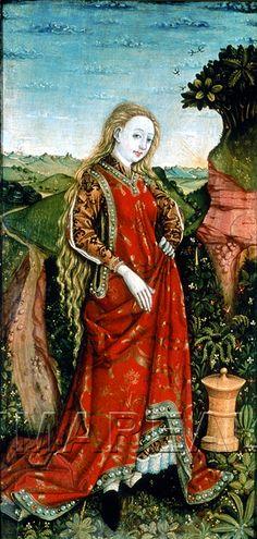 Hl. Maria Magdalena Kunstwerk: Temperamalerei-Holz ; Tafelbild ; Wien(?)  Dokumentation: 1470 ; 1475 ; Wien ; Österreich ; Wien ; Wien Museum ; IN 101. 773  Anmerkungen: 95x53