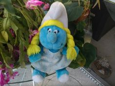 """Smurfette  Plush 10 1/2"""" sitting by Blissfulcollectables on Etsy"""