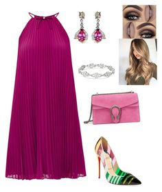 A fashion look from February 2018 featuring Ted Baker dresses, Christian Louboutin pumps and Gucci shoulder bags. Browse and shop related looks. Look Fashion, Trendy Fashion, Girl Fashion, Womens Fashion, Fashion Design, Komplette Outfits, Night Outfits, Fashion Outfits, Business Outfits