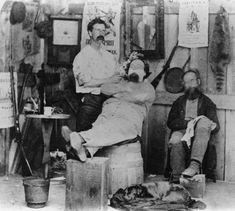 A barber shop believed to be in Utah in 1869. Courtesy Salt Lake Historical Society