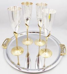 Champagne Goblets Brass and Silver Plate Flutes by ShellyisVintage #GotVintage #Vintage #Kitchen