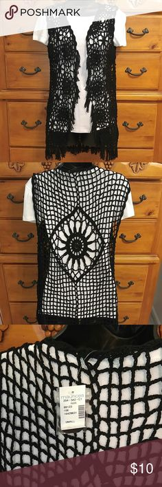 Never worn black vest🎉 Very pretty detail..purchased from another posher but didnt work for me.my loss is your gain! Still has tags on it!☺ Maurices Tops