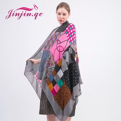 [Jinjin.QC] 2017 Fashion Geometric Scarf Portrait of lonely patients Print scarves and shawls head wraps echarpe foulard femme