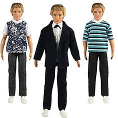 Barwa Lots 3 Sets Fashion Casual Clothes Outfits Suit and Pants for Ken Doll Barbie Boy Friend KEN * Click on the image for additional details.