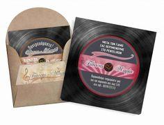 Προσκλητήριο γάμου δίσκος βινυλίου για τους λάτρεις των 33 στροφών!!! από 0,50 ευρώ με φάκελλο κραφτ ή κλασσικό!!! www.aquarella.gr Drinks, Drinking, Beverages, Drink, Beverage