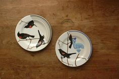 birds on dessert plates