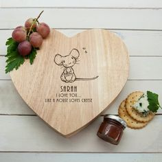 Personalised Romantic Heart Cheese Board 'Like A Mouse Loves Cheese' by KiddiClub on Etsy