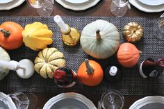 Mini pumpkin and winter squash table runner