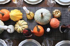 Mini pumpkin and winter squash table runner