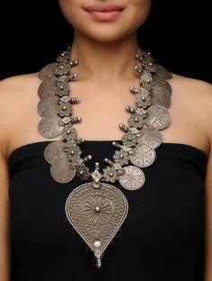 Buy Silver Tribal Necklace with Floral Motif Jewelry Necklaces/Pendants Folk Flourish Intricate designs Online at Jaypore.com