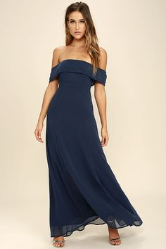 It's impossible to be anything but graceful in the Perfectly Poised Navy Blue Off-the-Shoulder Maxi Dress! Chiffon shapes an elasticized, off-the-shoulder neckline and princess seamed bodice atop an elegant maxi skirt. Hidden back zipper with clasp.