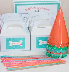 """Items similar to Puppy Birthday Party """"Adopt a Puppy"""" Tags Labels for Party Favor Boxes - Printable Digital Design on Etsy Double Birthday Parties, Puppy Birthday Parties, Puppy Party, Cat Birthday, Animal Birthday, Birthday Party Themes, Birthday Ideas, Birthday Celebration, Party Animals"""