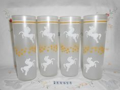 Libbey Frosted Tom Collin / Iced Tea Glasses with White Pony's Horses, Yellow Stars and Yellow and White Bands by WeBGlass on Etsy