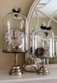 diy shabby chic decorations:: love these cloches; so many ways to style these ❤