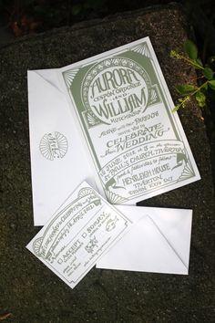 Aurora + William Sage Green Wedding Invitations   The Hungry Fox