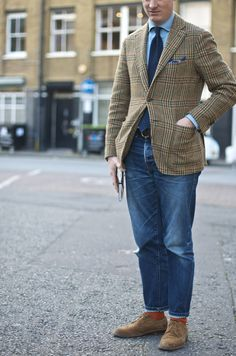 MH in a specially made up sample of new Drake's Jacket model, coming to Clifford Street and our online shop for AW14.